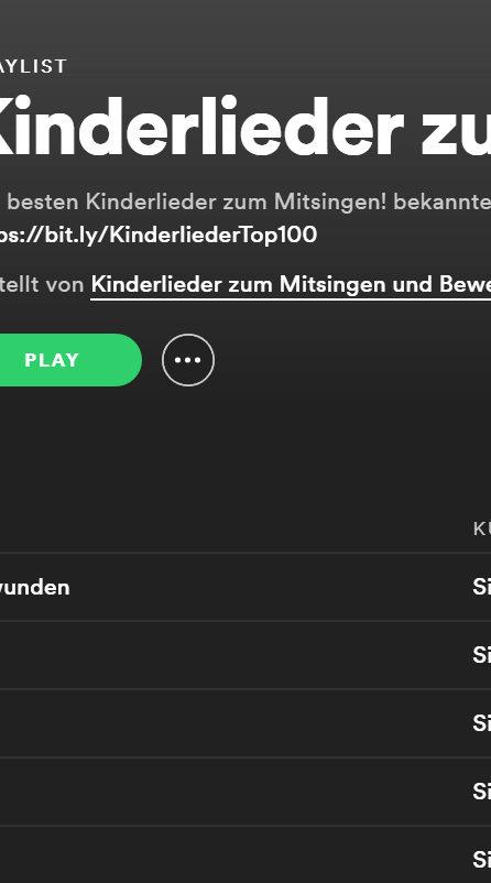 30 besten Kinderlieder auf Spotify